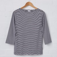 Sunspel White And Navy Women's Breton T Shirt