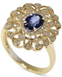 Effy Collection Royale Bleu By Effy Diffused Sapphire 9 10 Ct. T.W. And Diamond 1 8 Ct. T.W. Ring In 14K Gold Blue