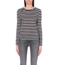 Frame Pintuck Striped Linen Jersey Top Blanc And Noir Stripe