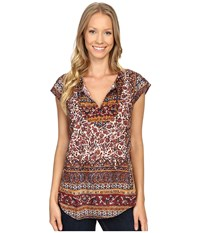 Lucky Brand Border Print Top Red Multi Women's Short Sleeve Pullover