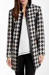 Insight Houndstooth And Faux Leather Panel Jacket Black