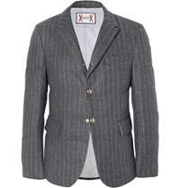 Moncler Gamme Bleu Slim Fit Quilted Pinstriped Wool Down Jacket Gray