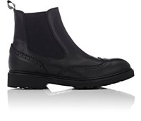 Barneys New York Women's Leather Wingtip Chelsea Boots Black
