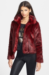 Glamorous Open Front Faux Fur Jacket Burgundy