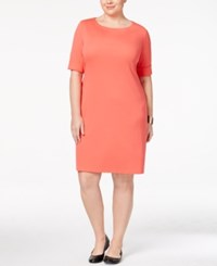 Karen Scott Plus Size Elbow Sleeve T Shirt Dress Only At Macy's Coral Tile