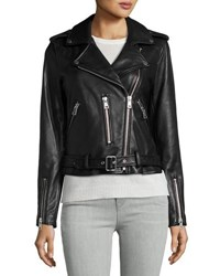 Bagatelle Leather Belted Moto Jacket Black