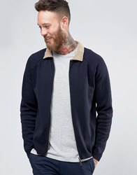 Asos Knitted Bomber With Borg Collar Navy