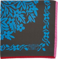Penrose London Romantic Floral Tile Print Pocket Square Blue