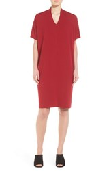 Eileen Fisher Women's V Neck Stretch Jersey Shift Dress China Red