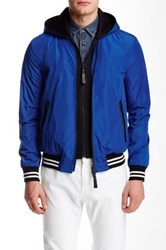 Mackage Didier Leather Trim Baseball Jacket Blue