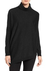 Eileen Fisher Women's Asymmetrical Merino Wool Jersey Turtleneck Black