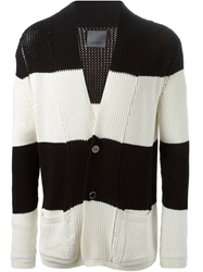 Laneus Striped Cardigan Black