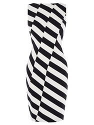 Karen Millen Ponte Striped Roma Dress Black And White
