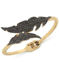 Betsey Johnson Two Tone Jet Pave Feather Bypass Hinged Bangle Bracelet Two Tone