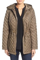 Laundry By Shelli Segal Quilted Jacket With Hooded Inset Green