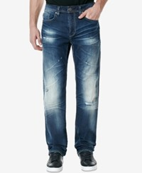 Buffalo David Bitton Men's Driven X Relaxed Fit Stretch Jeans Dirstressed Bright Blue