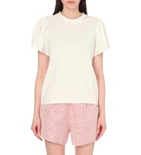 Edit Flute Cotton Jersey T Shirt White