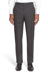 Armani Collezioni Men's Flat Front Wool Trousers Grey
