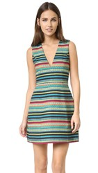 Alice Olivia Piece And Co Pacey Low V Neck Lantern Dress Multi