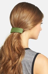 L. Erickson Large Leather Barrette Green South Beach Lime