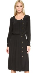 Wgaca Chanel Pleated Dress Previously Owned Black
