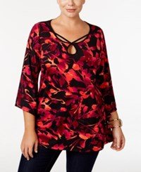 Ny Collection Plus Size Printed Angel Sleeve Tunic Red Leaf