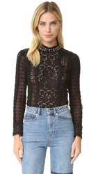 Rebecca Taylor Lace Studded Mock Neck Top Black