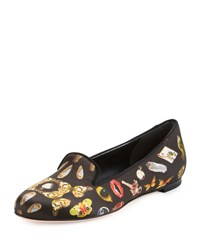 Alexander Mcqueen Printed Satin Smoking Slipper Black Multi