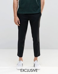 Only And Sons Skinny Fit Cropped Trousers With Stretch Black