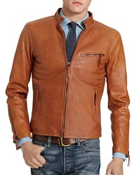 Polo Ralph Lauren Lambskin Cafe Racer Jacket Old Amber Brown