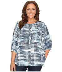 Nydj Plus Size Solid 3 4 Sleeve Pleat Back Lady Luck Houndstooth Women's Long Sleeve Button Up Blue