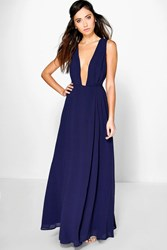 Boohoo Wrap Front Chiffon Maxi Dress Navy