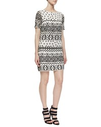 Alice Olivia Jan Embroidered Shift Dress White Pattern
