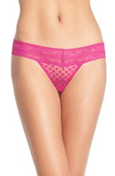 Free People Women's Lace Trim Thong Violet