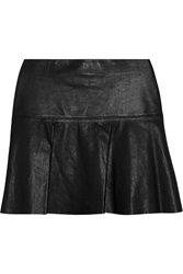 Vince Perforated Leather Mini Skirt Black