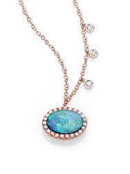Meira T Opal Diamond And 14K Rose Gold Pendant Necklace