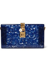Dolce And Gabbana Lace Perspex Box Clutch Blue