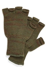Men's Upstate Stock Wool And Acrylic Knit Fingerless Gloves Green Army