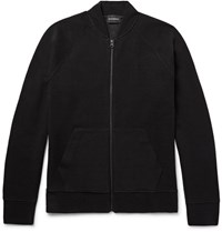 Club Monaco Ottoman Ribbed Jerey Zip Up Cardigan Black