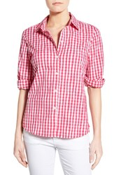 Women's Foxcroft Crinkled Gingham Shirt Hot Pink