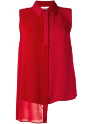 Dkny Sleeveless Asymmetric Shirt Red