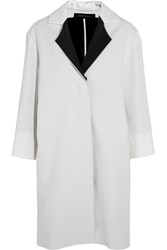 Roland Mouret Paddington Two Tone Wool Crepe Coat White