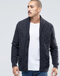 Barbour Cardigan With Cable Knit In Dark Grey Charcoal