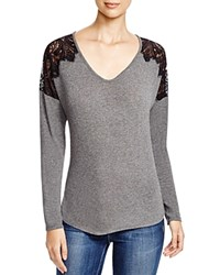 Red Haute Lace Applique Sweater Charcoal