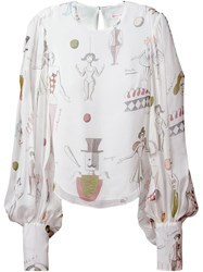 Olympia Le Tan Printed Billowing Sleeve Blouse White