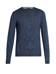 Etro Paisley Print Wool Blend Sweater Navy