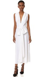 Tome Sleeveless Gathered Front Dress White