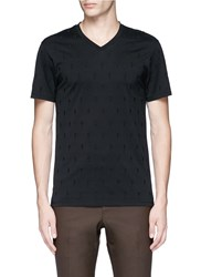 Neil Barrett Thunderbolt Embroidery V Neck T Shirt Black