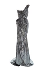 The Blonds One Shoulder Sequin Goddess Gown Dark Grey