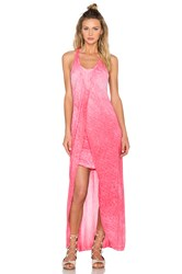 Stateside Oil Wash Supima Slub Jersey Scoop Neck Racerback Maxi Dress Pink